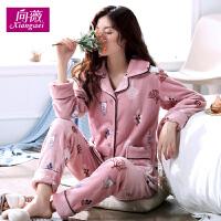 睡衣女冬季珊瑚绒卡通韩版甜美可爱加厚法兰绒长袖保暖家居服套装