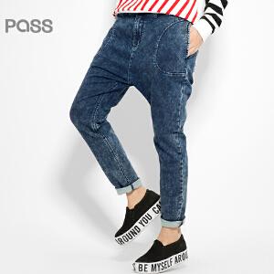 【不退不换】PASS原创潮牌冬装 潮流纯色趣味撞色口袋小脚棉布做旧牛仔裤女6541815034