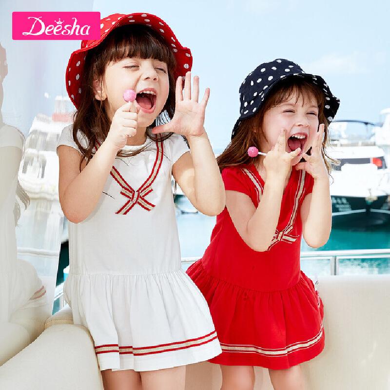 【3折价:58.2】笛莎童装女童连衣裙短袖夏季新款儿童女小童宝宝条纹休闲裙子 限时3件3折