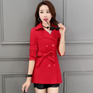风轩衣度 修身中长款长袖时尚双排扣纯色简约风衣2018年春季新款 2116