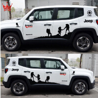 吉普Jeep自由侠车贴拉花 车身汽车贴纸专用装饰改装 牧马人自由光 左右+机盖