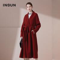 INSUN/恩裳商场同款摩登气质羊毛系带修身毛呢大衣外套女