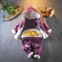 宝宝冬装套装0-1234岁男童冬季加绒加厚卫衣三件套婴幼儿卡通衣服