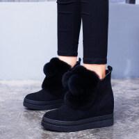 雪地靴女2018新款百搭冬季内增高兔毛女靴短筒平底毛毛鞋厚底短靴