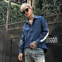 雅痞潮纯色修身青少年日系2018春季男士衬衫