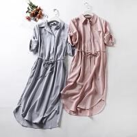女装2018春装新款时尚系带收腰中长款短袖衬衫式连衣裙女潮裙