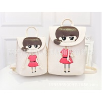 韩版小学生书包 可爱女童双肩背包 卡通护脊儿童书包女包 大款米白