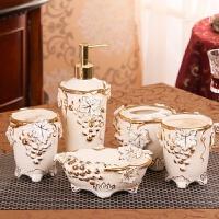 居家浴室用品套装欧式陶瓷卫浴套装浴室实用摆件漱口刷牙杯套件五件套创意结婚礼物 家用安全包装