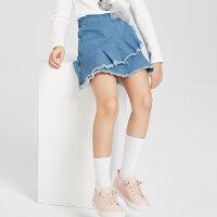 【1件2.5折到手价:48.8】米喜迪mecity童装女童牛仔短裙洋气毛边半身裙19夏新款