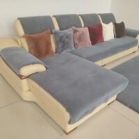 欧式真皮沙发防滑垫冬季沙发垫加厚仿兔毛绒沙发坐垫套欧式冬天真皮沙发防滑垫子定做