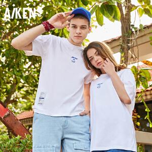 Aiken男装2018夏季新品T恤男女短袖纯棉个性小字母印花白情侣体恤