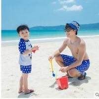 亲子款男士防晒泳衣可爱帅气分体平角儿童泳装宝宝温泉游泳裤男童