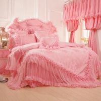 韩版贡缎提花蕾丝婚庆床品床裙公主床上用品四件套1.8m 1.8*2.0m床 被套220*240
