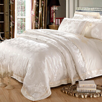 欧式贡缎提花床上四件套棉床单1.8m2.0m双人婚庆床品被套 白色 锦绣华章