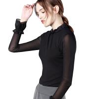 网纱打底衫女长袖外穿拼接喇叭袖冰丝上衣薄款T恤中领蕾丝衫秋冬