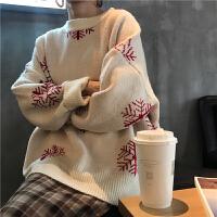 2018春装韩版宽松显瘦圣诞雪花针织衫毛衣长袖上衣女装学生潮 均码