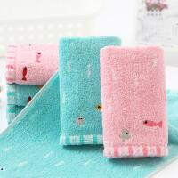 2条装 金号纯棉小鱼儿童童巾 宝宝幼儿园柔软吸水洗脸小毛巾 48x25cm