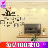 猫咪相框照片墙3d亚克力立体墙贴温馨创意婚房电视沙发背景墙装饰 猫咪相框 黑猫黑框红心