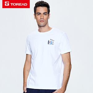 探路者短袖T恤男款 18春夏户外男排汗透气印花短袖T恤TAJG81821