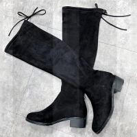 2018秋冬季新款韩版长筒靴女过膝高跟加绒弹力百搭显瘦中跟长靴女SN8443 黑色