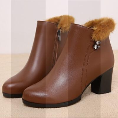 妈妈鞋短靴真皮2018新款中年中跟粗跟保暖加绒中老年棉鞋靴子女冬SN9148