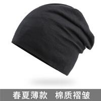 棉质大号帽子 男士欧美潮流跑步包头帽薄款街头套头帽 春夏季睡帽 黑色 【薄款】【均码】