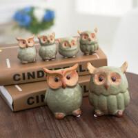 0512161251855美式乡村复古创意陶瓷猫头鹰桌面隔板装饰摆件家居饰品客厅工艺品 大号一套二个