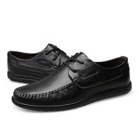 男鞋透气软底皮鞋2018新款牛皮男士系带真皮休闲鞋百搭鞋子男真皮 黑色 标准皮鞋码