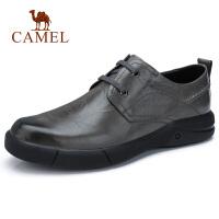 camel骆驼男鞋 秋季新款潮流休闲男鞋柔软抓纹牛皮休闲系带鞋