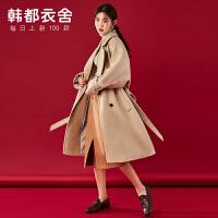 韩都衣舍冬装新款韩版呢子大衣女2019流行中长款毛呢外套NF11700