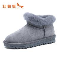 【红蜻蜓领�涣⒓�150】红蜻蜓雪地靴女冬季新品时尚平底短筒女靴加绒保暖女棉鞋