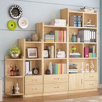 实木书柜简易自由组合学生书橱书架置物架儿童储物柜带门松木柜子