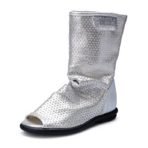 比比我2107春秋款女鞋欧美鱼嘴单鞋女镂空凉靴高帮靴