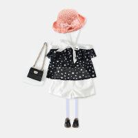 女童套装韩版童装夏季新款雪纺圆点露肩吊带衫+短裤2件套装B7-A44