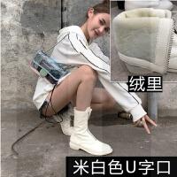 欧美2018秋冬新款白色前拉链短靴做旧自然皱女皮靴粗跟圆头中筒靴SN1291