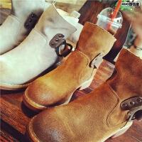 欧洲站秋季短靴女马丁靴真皮女靴单靴子英伦平跟及裸靴舒适女鞋潮