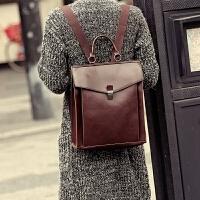 0602145824048新款韩版双肩包 学院风复古邮差包双肩包 定型背包 旅行包潮 咖啡色