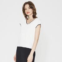 【1件2.5折到手价:84.8】MECITY女装夏新品休闲短袖V领撞色边套头毛衫