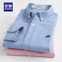 【618狂欢1折起】罗蒙(ROMON)纯棉男士衬衫中青年休闲2021新款格子长袖衬衣