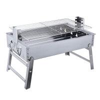 小型户外可折叠木碳烧烤炉2-3-5人全套工具家用不锈钢迷你烤架子 大号套三配条形钢网+13件套