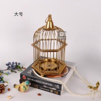 进口纯铜客厅装饰品摆件 创意金色鸟笼烛台 玄关摆件 纯铜烛台