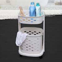 【领券+满减】ORZ 新加坡制白色PP双层带轮脏衣篮 浴室可移动洗衣篮衣服储物篮