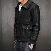 秋冬季男士加厚棉衣羊羔毛领韩版修身棉袄夹棉机车皮衣夹克外套潮