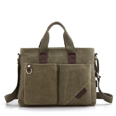 帆布包潮男包手提包公文包男士单肩背包商务斜挎包休闲电脑包 军绿色