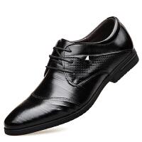 皮鞋男新款英伦系带休闲三接头商务休闲尖头黑色商务正装透气潮流