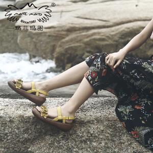 玛菲玛图凉鞋2018新款女厚底松糕鞋夏天花朵中跟手工鞋软底复古民族风女鞋设计师女鞋M19816320T02