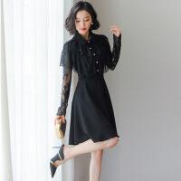 小香风连衣裙2019春装新款女装时尚气质拼接蕾丝黑色长裙子秋冬季 黑色