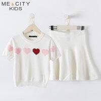 【全场2件2.5折,到手价:89.8】米喜迪mecity童装秋装新款女童爱心平面短袖毛织套装