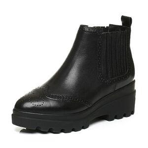 Belle/百丽冬季专柜同款黑油皮牛皮革女皮靴(绒里)BJU45DD6
