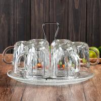 家用冷水壶玻璃凉水壶耐热耐高温扎壶大容量防爆透明加厚水杯套装7933 钻石杯6个+托盘+托架+杯刷 送圆桶直身壶